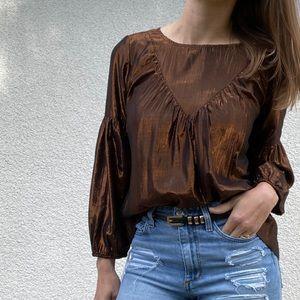NWT Anthropologie Amadi bronze blouse medium